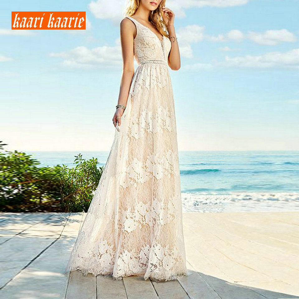 Luxury Lace Long Evening Dresses 2019 Banquet Evening Gowns Women Party Chic V-Neck Sleeveless A-Line Slim Fit Prom Formal Dress
