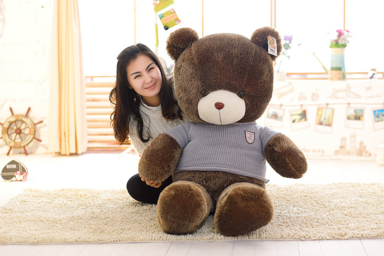 stuffed plush toy huge 160cm blue sweater brown teddy bear plush toy soft doll hugging pillow Christmas gift b1367 stuffed animal 120 cm cute love rabbit plush toy pink or purple floral love rabbit soft doll gift w2226