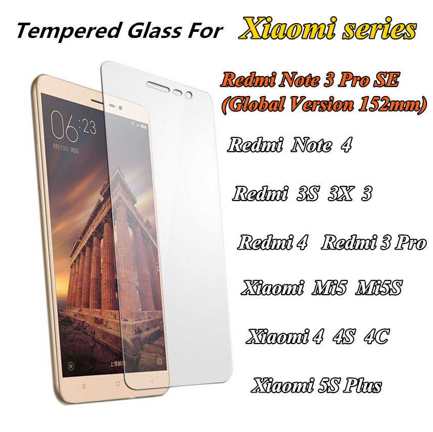 9H Tempered Glass For xiaomi Redmi Note 3 PRO SE 3S 3X Note 2 3 4 kate Xiaomi 4C 4S mi5S mi5 Screen Protect smartphone film case