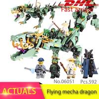 Ninjago Series 06051 592pcs Movie Flying Mecha Dragon Model Building Block Brick Toys For Children Compatible