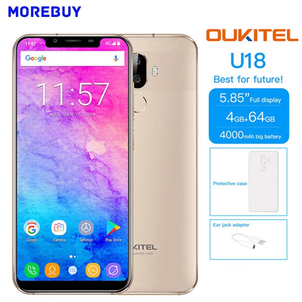 OUKITEL U18 4GB RAM 64GB ROM Android7.0 Octa Core Mobile Phone 5.85''HD 21:9 Screen Face ID 4000mAh Fingerprint 4G Smartphone