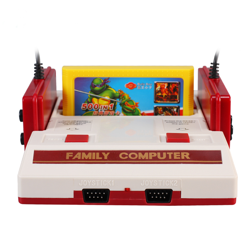 Powkiddy 8 бит ТВ игры классический красный, Белый игры игровая консоль желтый карт plug-in карточные игры NTSC