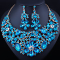 FARLENA jewelry KC Gold Plated Resin Crystal Flower Necklace Earrings for Women Wedding Party Indian Jewelry sets
