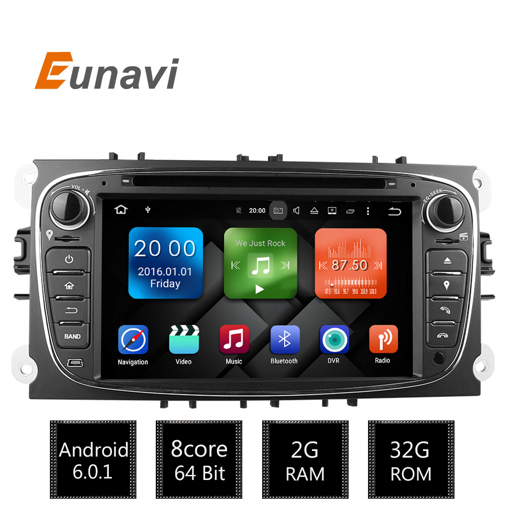Eunavi 2 Din 7Android 6.0 Octa Core Car DVD Player DAB+WiFi 4G CANbus Online Maps GPS Navigator for Ford Focus II Mondeo S-Max автомобильный dvd плеер joyous kd 7 800 480 2 din 4 4 gps navi toyota rav4 4 4 dvd dual core rds wifi 3g