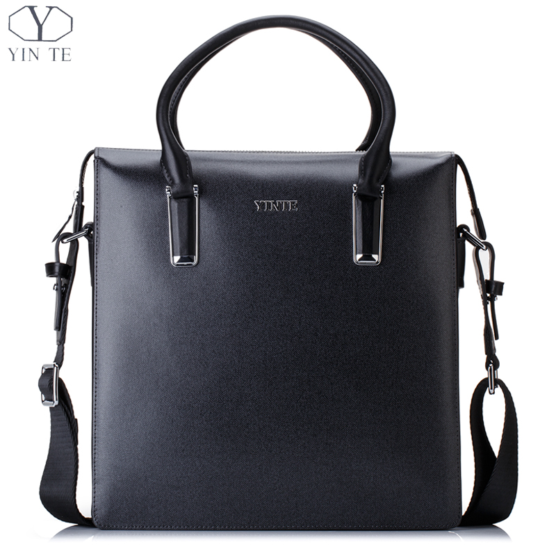 YINTE Fashion Men's Handbag Leather Business Briefcase Blue Bag Men Messenger Shoulder Bag Attache Men Totes Portfolio T8611-3 yinte leather men s briefcase black bag fashion business messenger totes laptop bag ostrich prints men s portfolio t8518 6