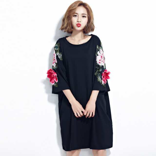 OLOEY 2018 Spring Autumn New Plus Size Embroidery Floral Loose Kor...