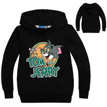 Spring Tom and Jerry Boys Pullover Hoodies Sweatshirts Kids Jumpers Girls Coat Cartoon Printing Casual Outwear Children T-Shirts