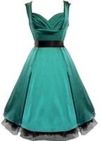送料無料無地1950 s グリーン ophilia スタイル ピン ナップ ロカビリー ドレス ヴィンテージ で サッシュ ネット プラス サイズ s-6xl