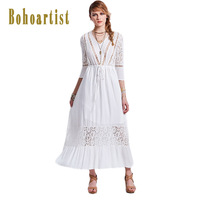 Bohoartist Women Hollow 2017 Summer Stripes Dress White Flare Sleeve V Neck Patchwork Style Elegant Office