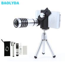 Get more info on the Baolyda 7IN1 Mobile Phone Lenses 12X 18X Telescope Camera Zoom Celular Optical telephoto Lens for iPhone Huawei With Tripod