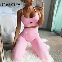 CALOFE Caliente Camisola Mujeres Yoga Suit Deportes Running Girls Delgado Leggings + Tops Gimnasio Workout Sujetador Floral Malla Pantalones Deportivos gimnasio