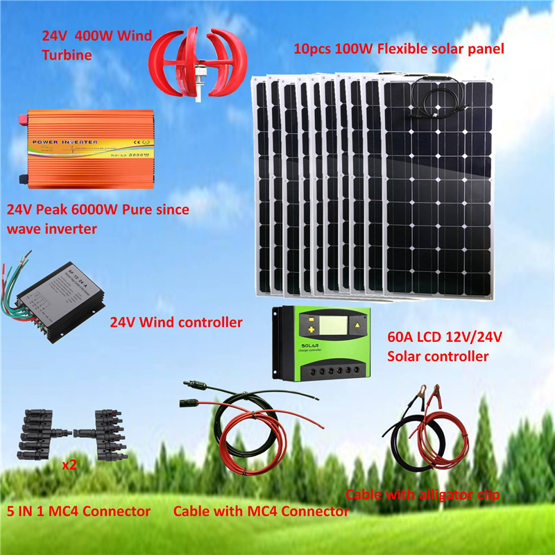 24V System 1400W Hybrid System Kit: 400W Wind Turbine & 10*100W Flexible solar panel+ Peak 6000W Pure Since Wave Inverter+Parts image