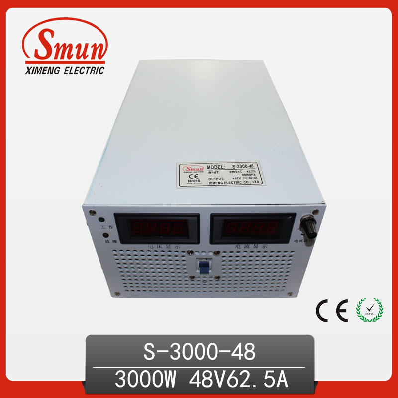 SMUN 3000W 48V 62A Single Output Switching Power Supply With CE ROHS From China Supplier Industrial and Led Used 125a 220v 2p e industrial male plug 3pins with ce rohs 1 year warranty