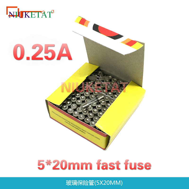100pcs/box 5*20mm 0.25A 250V Fast fuse 5*20 F0.25A 250mA 250V Glass Fuse 5mm*20mm New and original