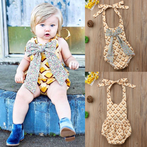 New Halter Plaid Bodysuits Summer Baby Girl Bowknot Bodysuits Sleeveless Backless Summer Children Toddler Clothes Outfits 6M-3Y