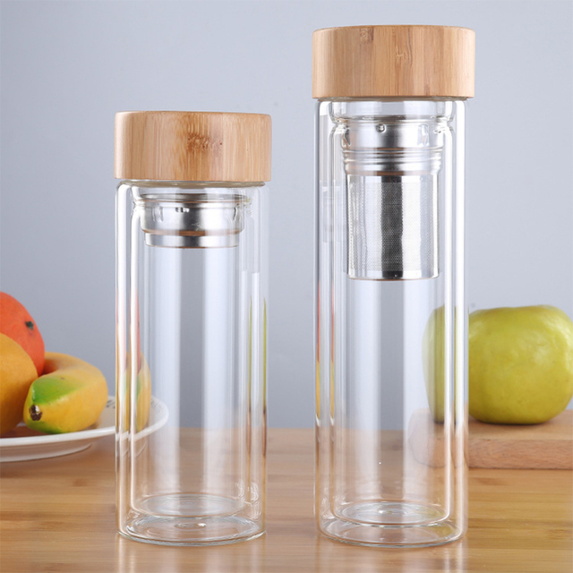 Tea Bottle Glass Bottled Water Bottle Infuser With Filter Strainer Borosilica Double Wall Drink Bamboo Lid 450ml Car Drinkware 1