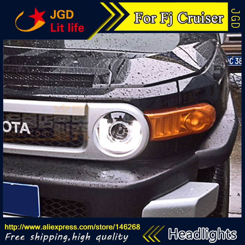 цена Free shipping ! Car styling LED HID Rio LED headlights Head Lamp case for Toyota FJ Cruiser 2007-2014 Bi-Xenon Lens low beam