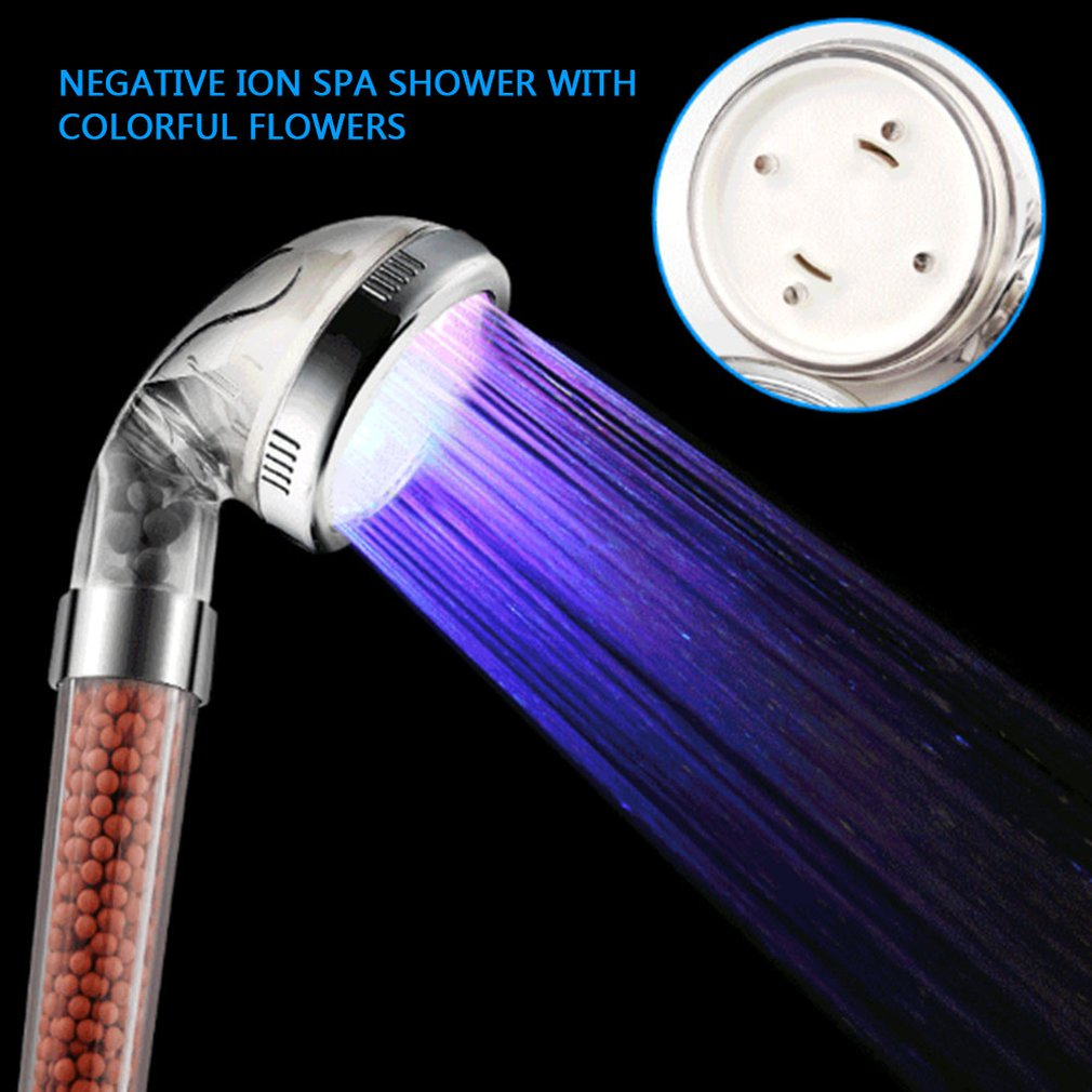 Bathroom Spa Negative Ions Anion LED Shower Head Sprinkler Temperature Sensor 7 Color Changing Lights Filter Handheld Shower New