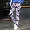 2017 primavera verão mulheres camuflagem strsight calças plus size fina desgaste traje tamanho grande colorido harem hip hop calças de dança