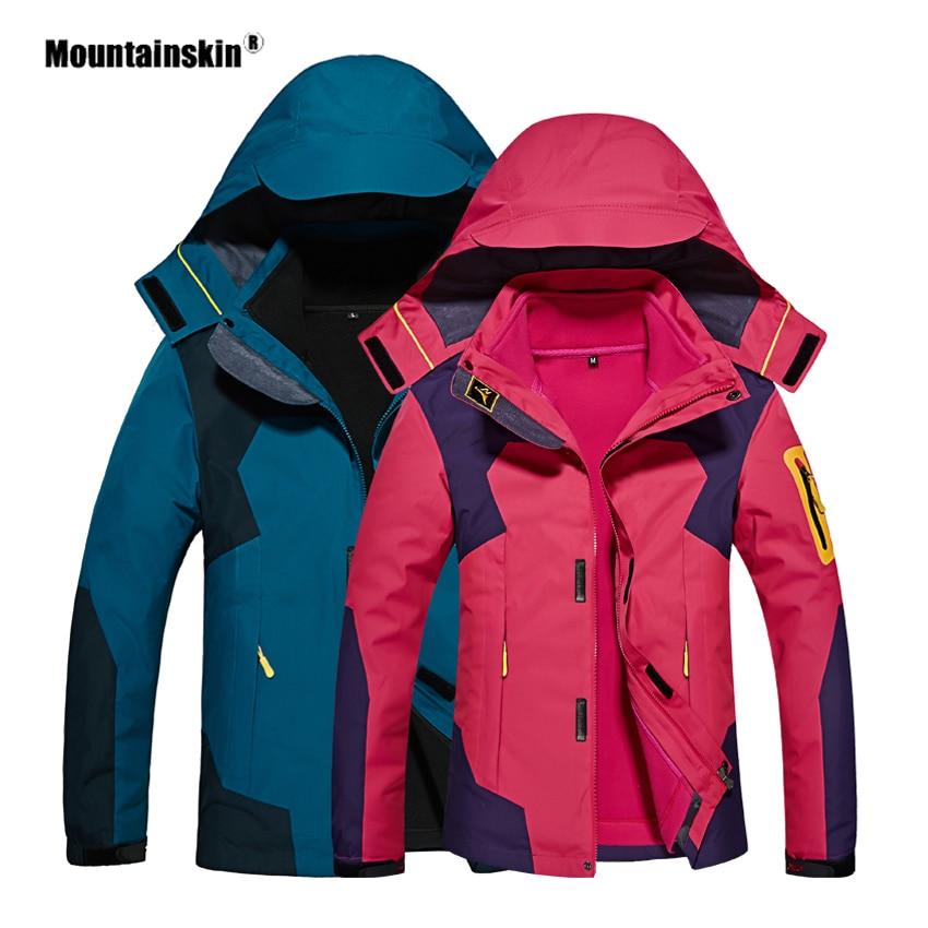 Mountainskin Men Women Autumn Winter Outdoor Jacket Camping Hiking Fleece Windbreaker Two pieces Suit Hooded Brand