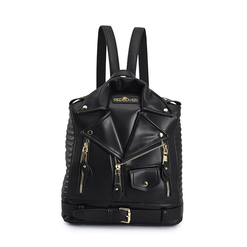 Women new backpack double shoulder bag rivet jacket coat cool pocket rucksack famous designer luxury lady's bag