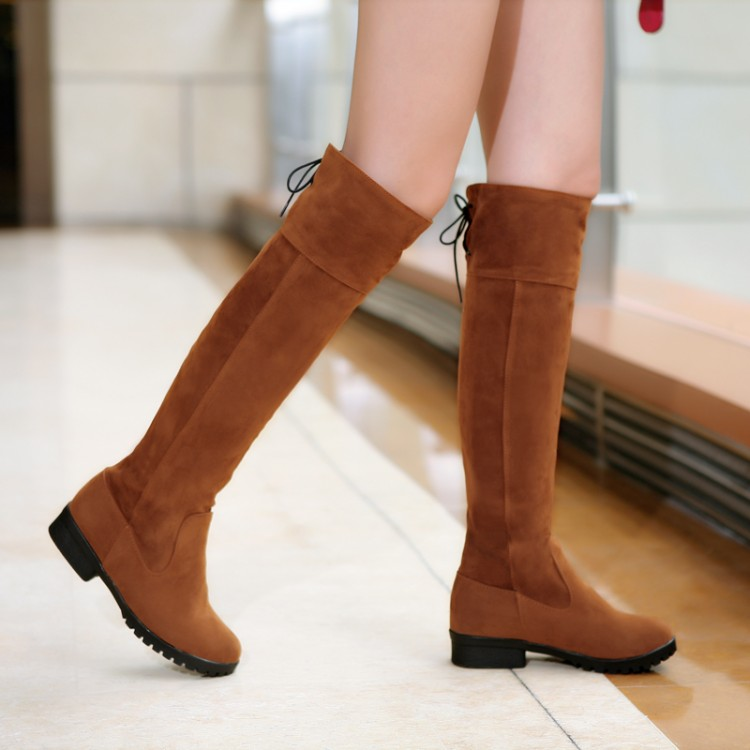 ФОТО Mm plus size tube plus size tall boots low-heeled 40 - 44 women's boots female shoes big size thigh free shipping
