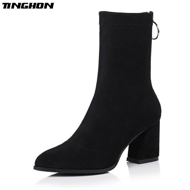 TINGHON Autumn Winter Shoes thick heel high boots Women Back Zipper Metal  Ring slip on Round Toe Knitted Sock Boots c924c4124082