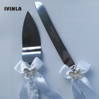 New Arrived Personalized Pearl Rhinestone Wedding Cake Knife And Serving Set