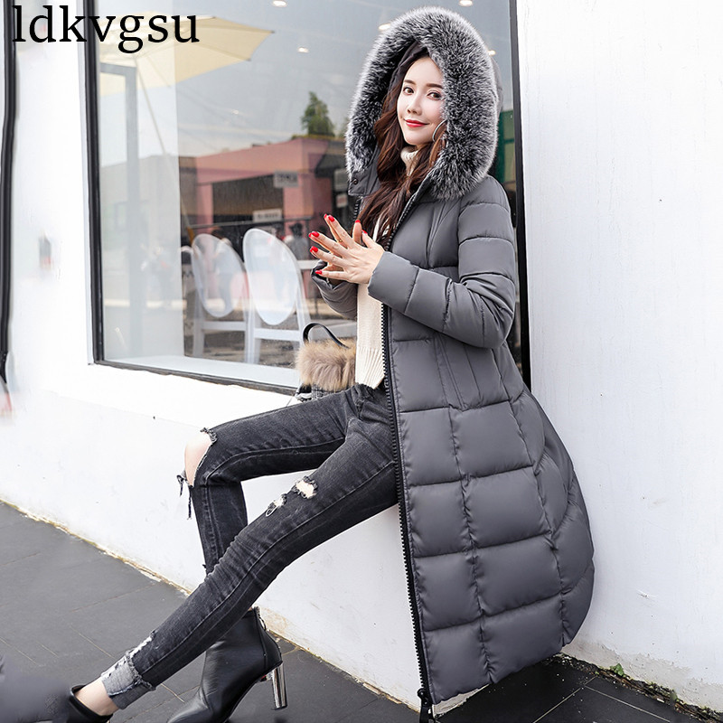 Long Survêtement La Beige Col Plus navy Capuche Épaississement Femmes red Dame Coton À Hong Bureau Parkas Manteau De Mince V186 black Hiver Se Grand gray Taille Fourrure 2018 Vestes zhuan TRqwBEB