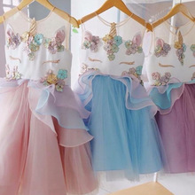 цена на Fancy Unicorn Dress For Party Children Birthday Ball Gown Kids Clothes Girls Evening Prom Dresses Junior Wedding Clothes