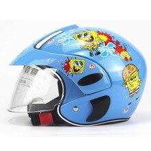 Бесплатная доставка по уходу за детьми мультфильм мотоциклов мотоцикл шлем зима теплая половина лица детей мото шлем для 3-9 лет