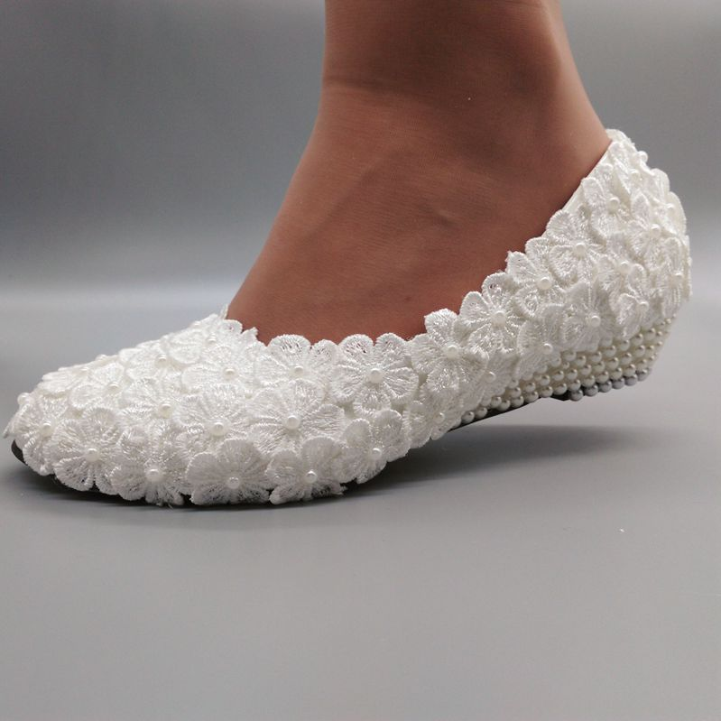 su.cheny 2 White ivory wedges pearls lace crystal Wedding