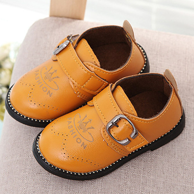 2017 Autumn Toddlers Boys Casual Shoes Buckle Kids Leather Shoes British Style Children Dress Shoes Infant Girls Oxfords Shoes