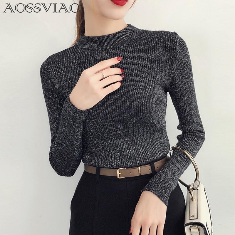 Lurex brilhante outono inverno camisola feminina manga comprida pulôver feminino básico blusas gola alta 2019 estilo coreano malha topos femme