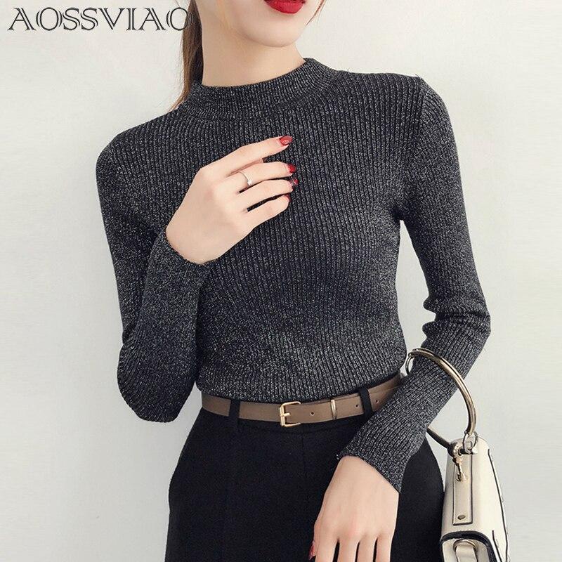 Shiny Lurex Herbst Winter Pullover Frauen Langarm Pullover Frauen Grundlegende Pullover Rollkragen 2018 Koreanische Stil Stricken Tops Femme