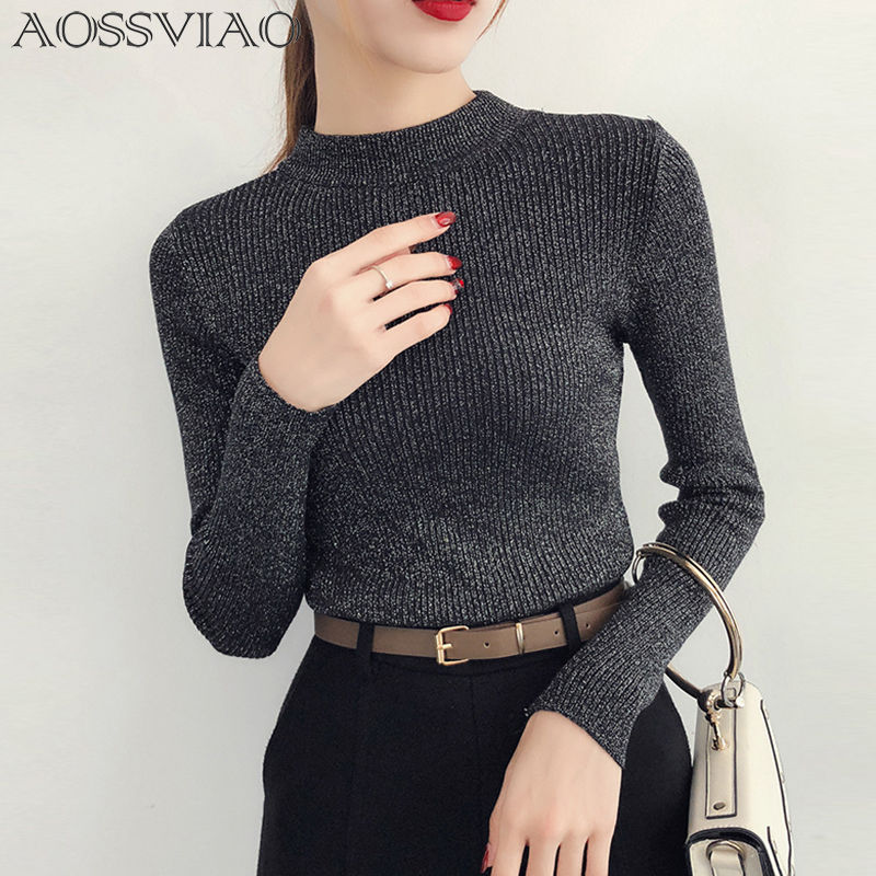 Shiny Lurex Autumn Winter Sweater Women Long Sleeve Pullover Women Basic Sweaters Turtleneck 2019 Korean Style Knit Tops Femme