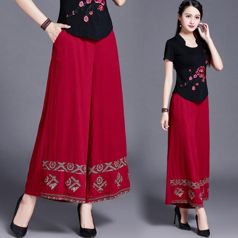 Original Chinois Style Vêtements pour Femmes, Été Et Automne, Nouveau Style De Art Et Artisanat, Coton, chanvre, Loisirs, Large Jambe Pantalon, B