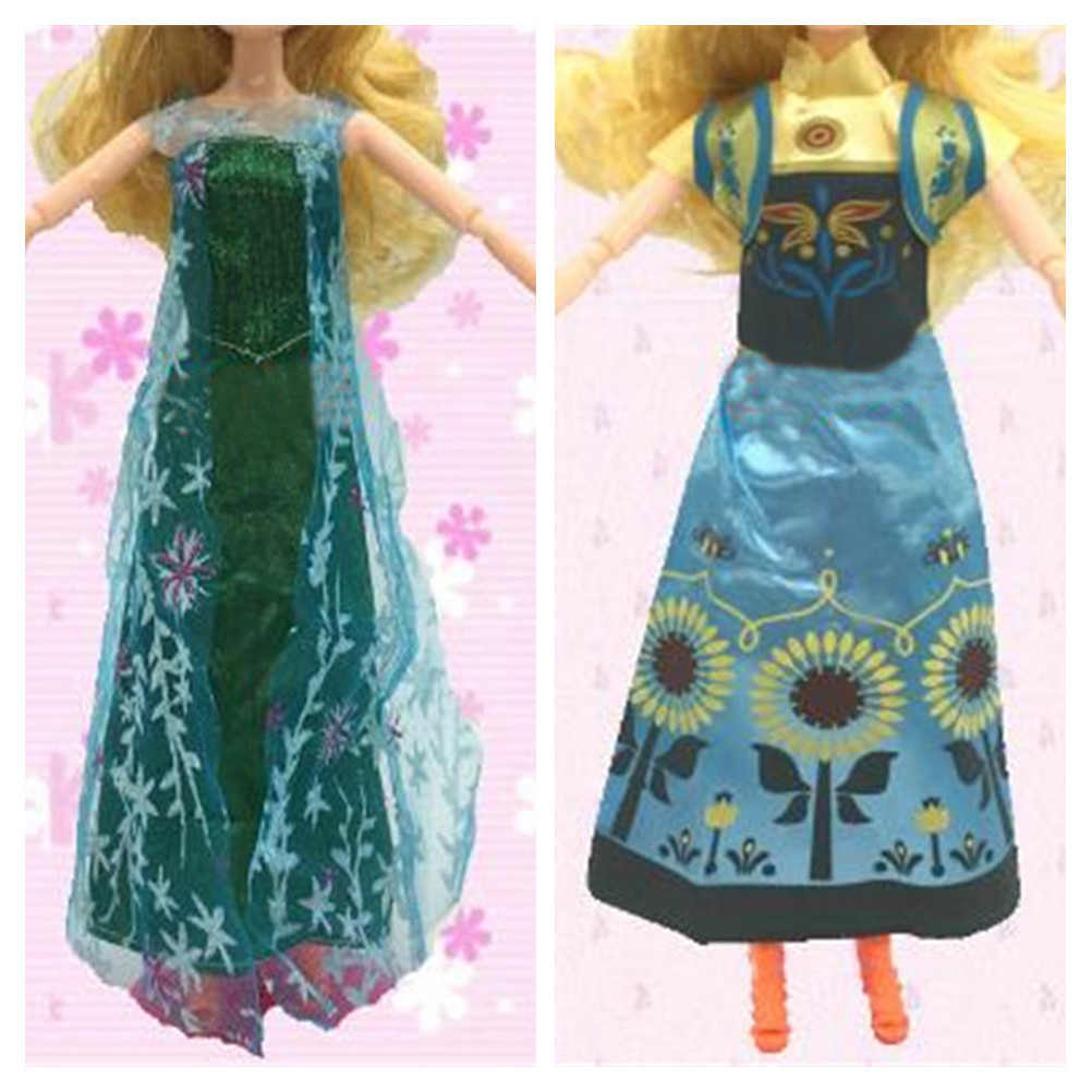 Best Girls' Two Set Princess Doll For Anna + Elsa Outfit Movie Similar Dress Fairy Tale Wedding Dress For   Doll