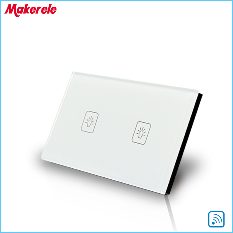 Remote Touch Switch US Standard 2 Gang 1 way RF Remote Control Light Switch White Crystal Glass Panel smart home us au wall touch switch white crystal glass panel 1 gang 1 way power light wall touch switch used for led waterproof