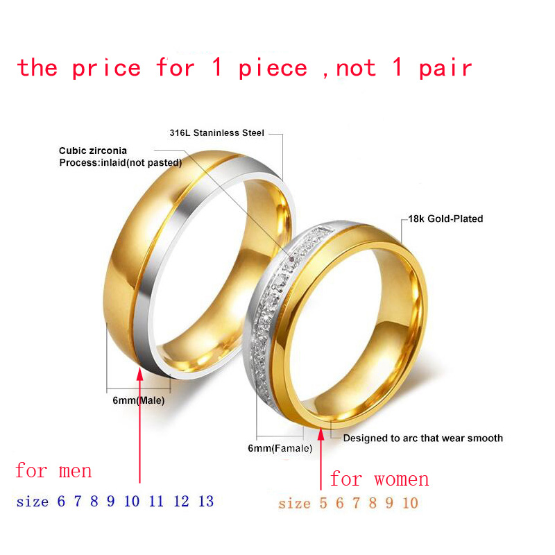 Meaeguet Shiny Cubic Zirconia Wedding Rings For Lovers Classic