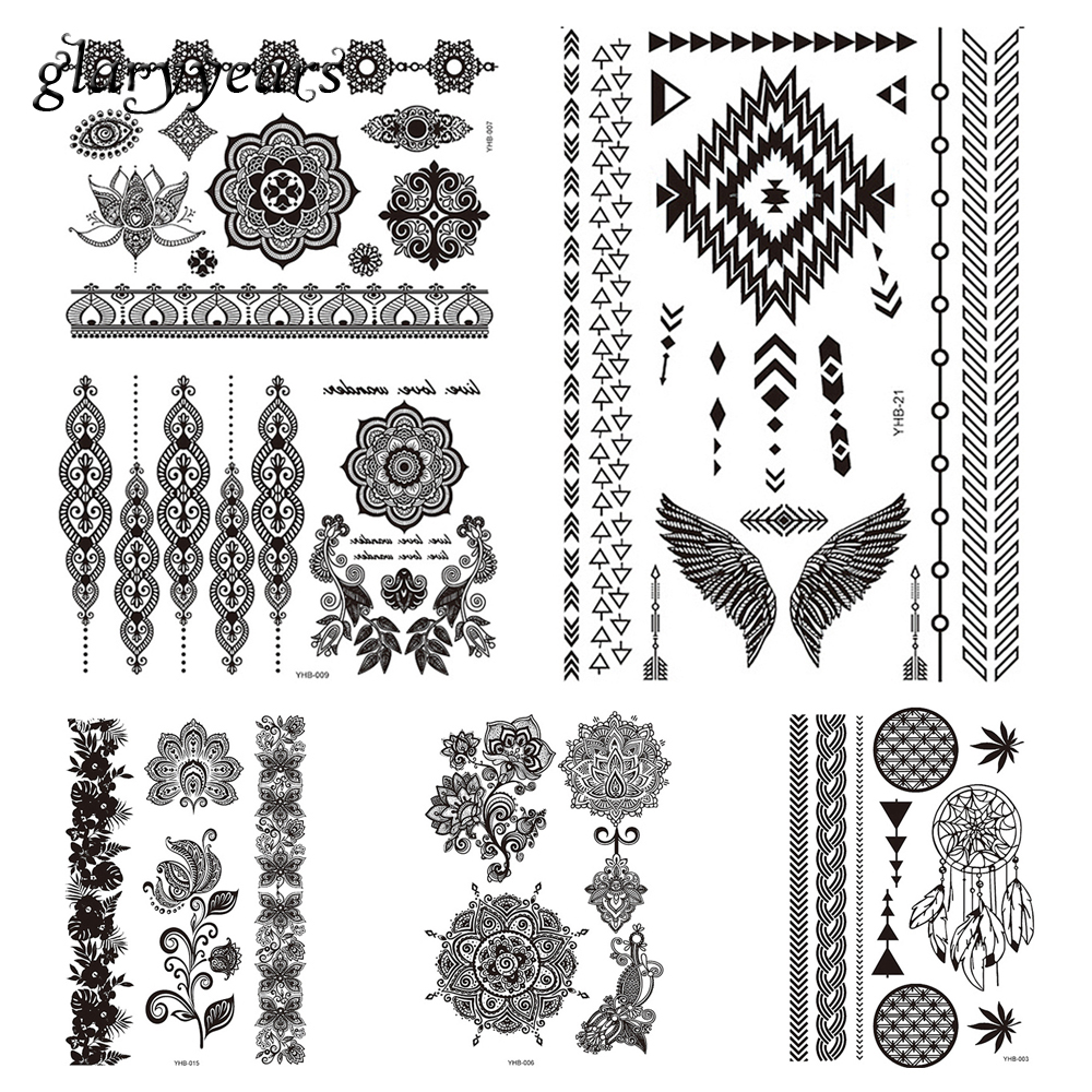 6 Sheets Temporary Indian Tattoo Sticker Black Flower Lace