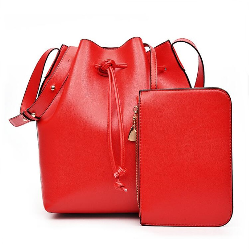 Women Brand PU Leather Striped Bucket Bag String Shoulder Composite Bags Set Designer With Purse Female Crossbody Bag Bolas jooz brand luxury belts solid pu leather women handbag 3 pcs composite bags set female shoulder crossbody bag lady purse clutch