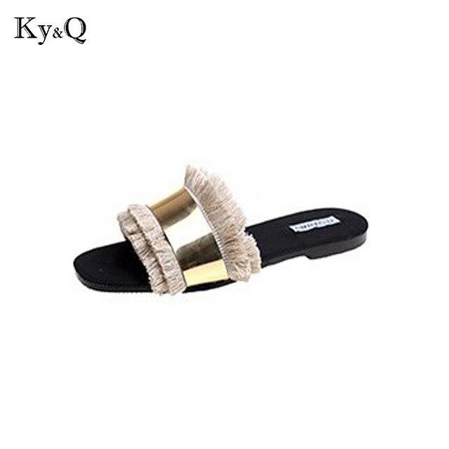 67990978cf20 Women Fashion Summer Flat Slides Women Slippers Shoes Fringe Outdoor Street  Flip Flops Slippers eu 35-40