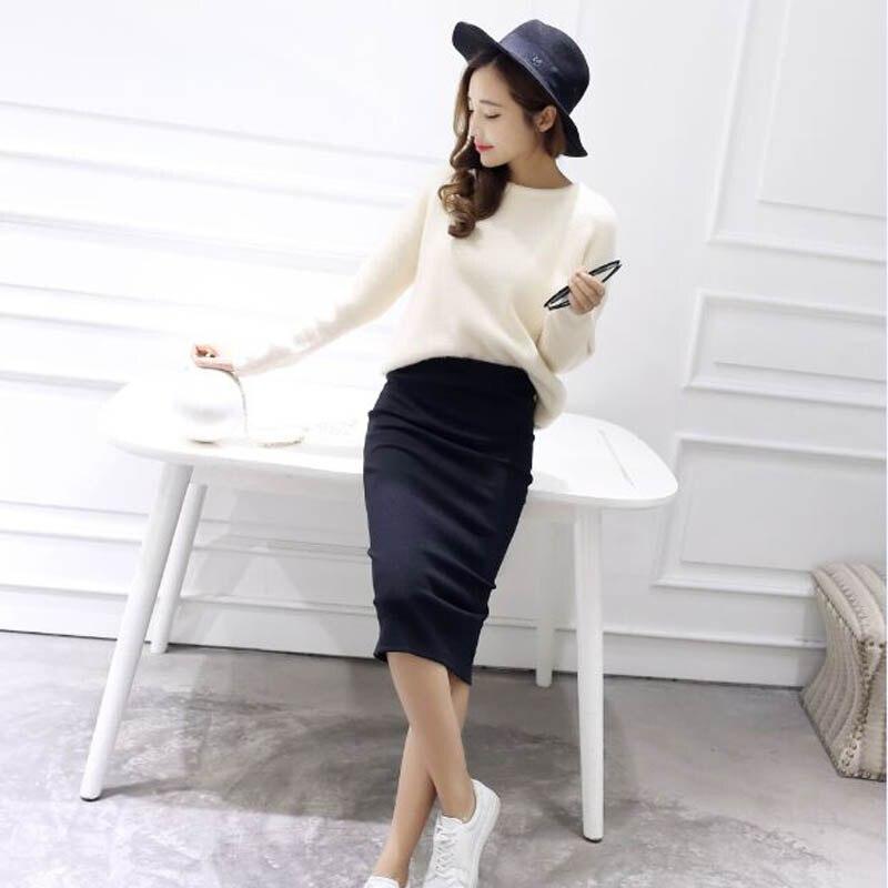 Autumn Winter Bodycon Skirt Women Stretchable Split Skirt Mid Calf Slim Pencil Skirts For Women Female