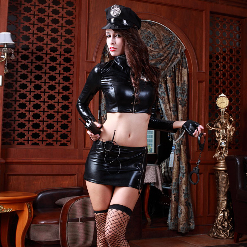8Pcs Women <font><b>Sexy</b></font> Erotic Fetish Cop Police <font><b>Costume</b></font> Zipper Mini <font><b>Dress</b></font> Halloween Officer Policewomen Cosplay <font><b>Fancy</b></font> <font><b>Dress</b></font> Outfit image