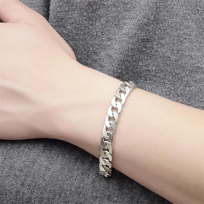 """Men's hip-hop stainless steel punk rock bracelet Cuban brake chain men's bracelet women's jewelry""""7"""",""""9"""""""