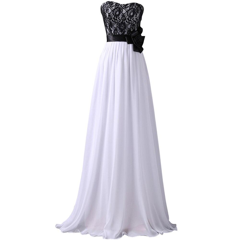 Black Lace Prom Dress White