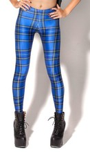 BL-309 TARTAN BLUE LEGGINGS 2014 fashion new women Digital print Pants Free shipping