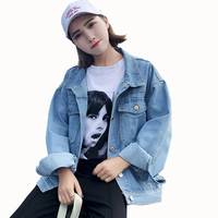 Spring Autumn Denim Style Girls Loose Blue Jeans Jacket Women Denim Jackets Outerwear Coats Female Plus