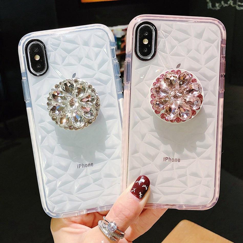 Honor 10 20 Nova4 Cz Diamond Print Houder Stand Mobiele Telefoon Geval Voor Huawei P20 P30 Mate20 Mate30Pro Zachte Tpu beugel Gevallen Coque